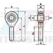 ROTULE MALE MOTORSPORT M18x150 PAS A GAUCHE + CONTRE ECROU