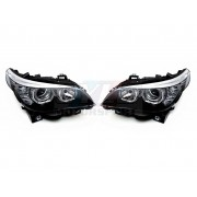 -30% E60-E61 03-07 Paire de phare avant noir Angel Eyes CCFL